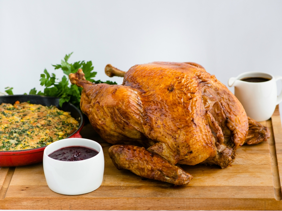 Roasted Turkey with Cornbread and Sausage Stuffing Giblet Gravy and Cranberry Sauce (1)