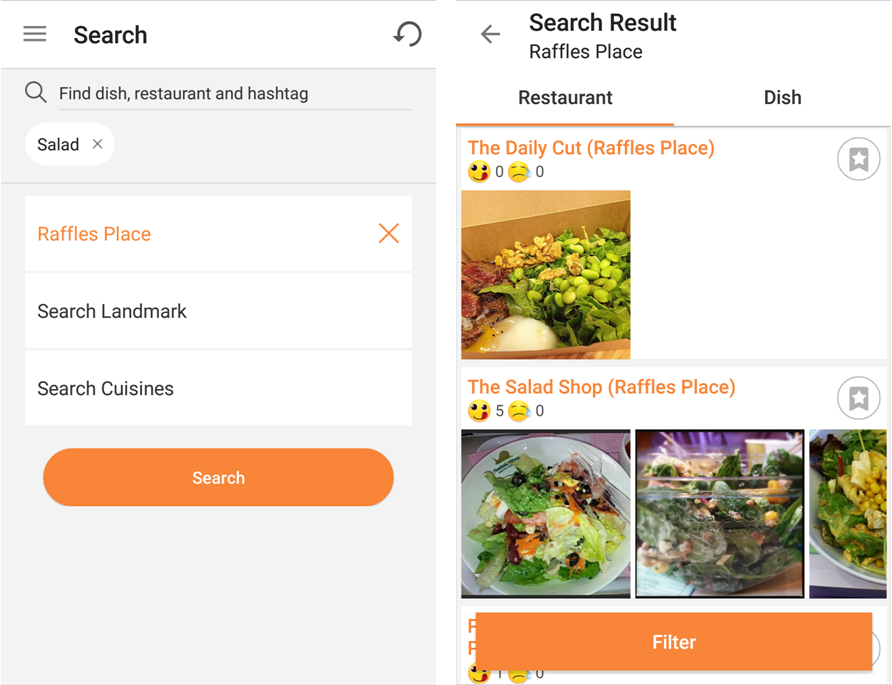 OpenSnap - Raffles Place Salad Search
