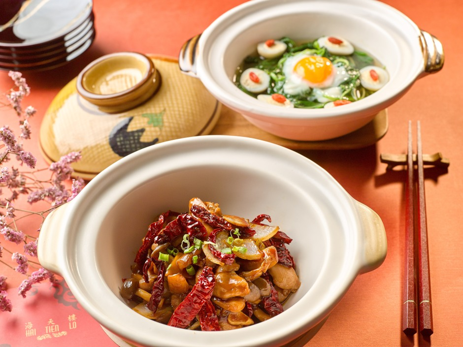 claypot-chicken-with-pine-mushrooms-in-szechuan-dried-chilli-and-claypot-chinese-spinach-with-eggs